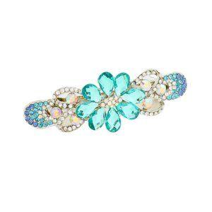 Blue Rhinestone Crystal Floral Barrette